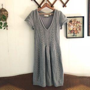 Anthropologie • Grey Wool Knit Midi Sweater Dress